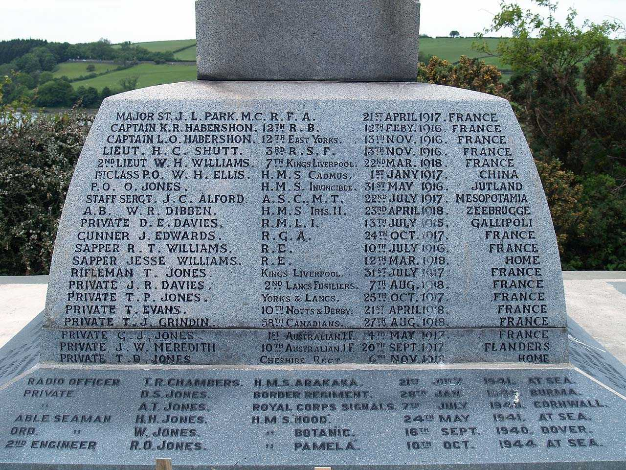 Menai Bridge, St Tysilio's War Memorial - WWI and WWII Casualties Names