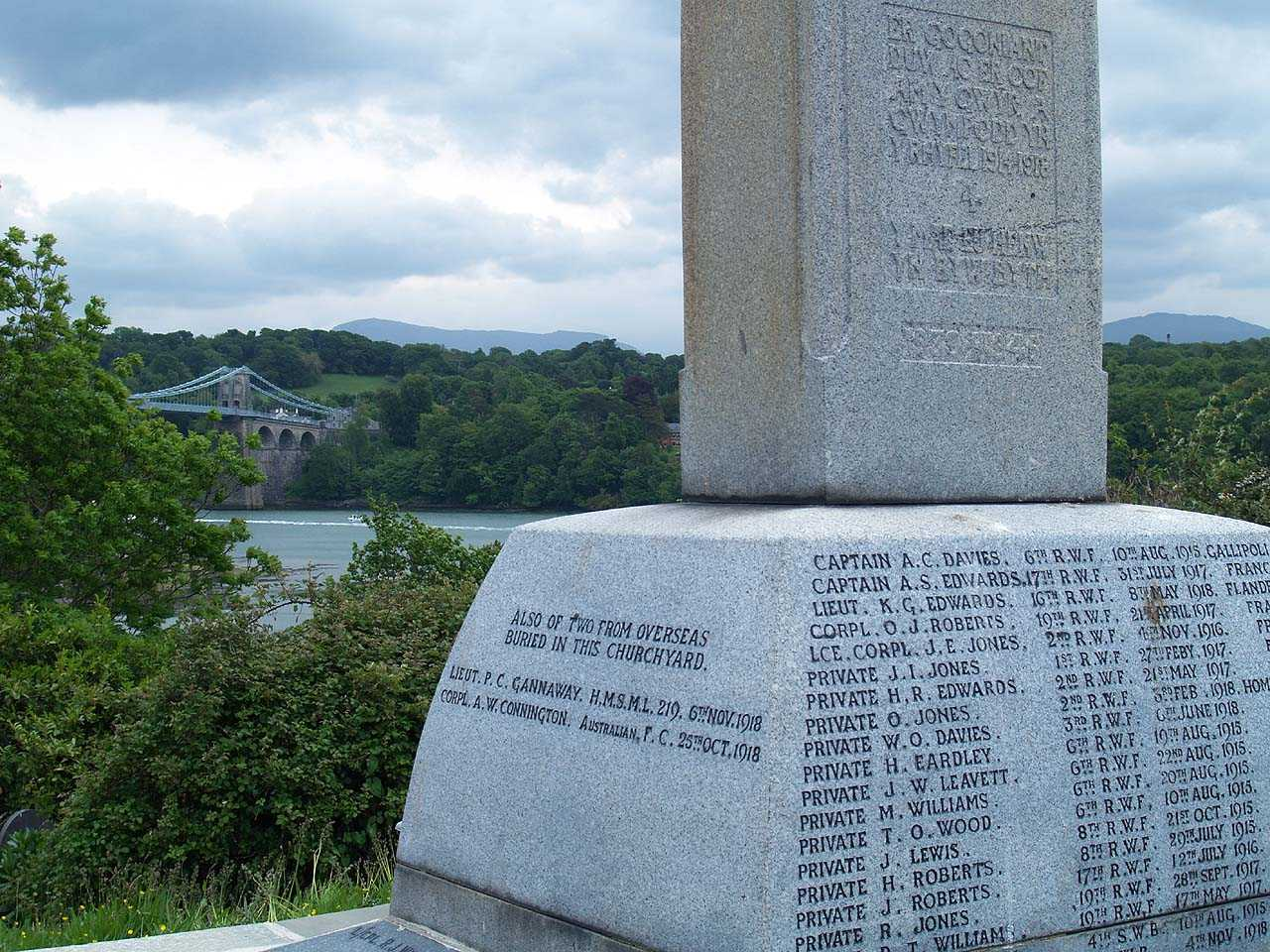 Menai Bridge, War Memorial with Menai Bridge to the rear