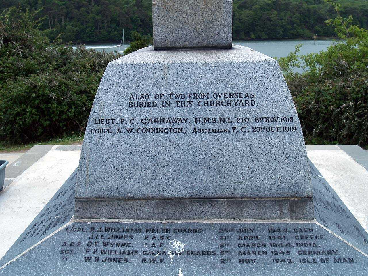 Menai Bridge, War Memorials - Two from overseas and WWII Casualties