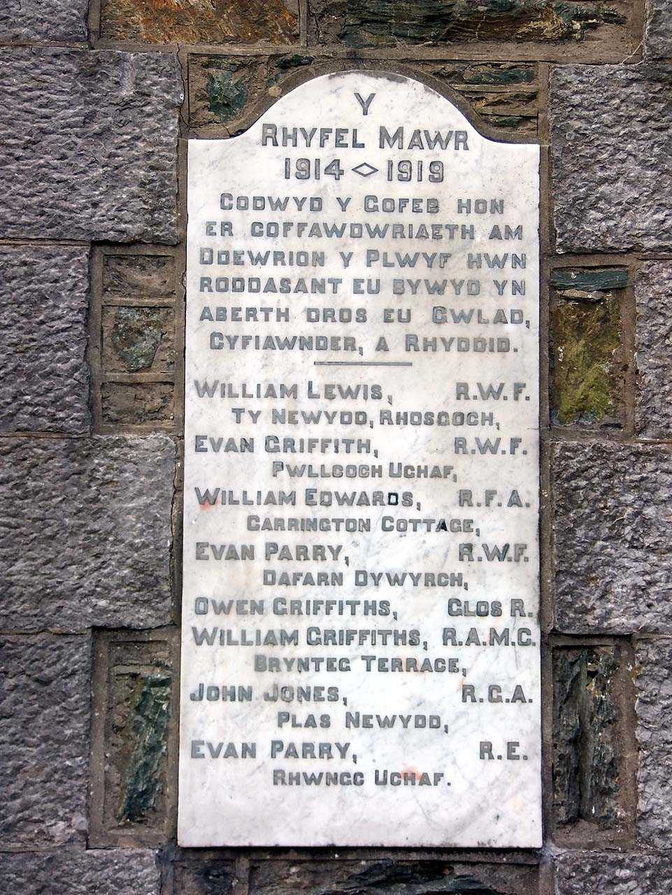 Anglesey, Rhosybol WWI War Memorial Names