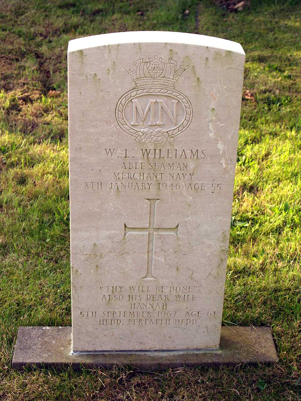 Anglesey, Rhosybol, Christ Church - War Grave of William Lewis Williams Merchant Navy killed 8th Jan 1946