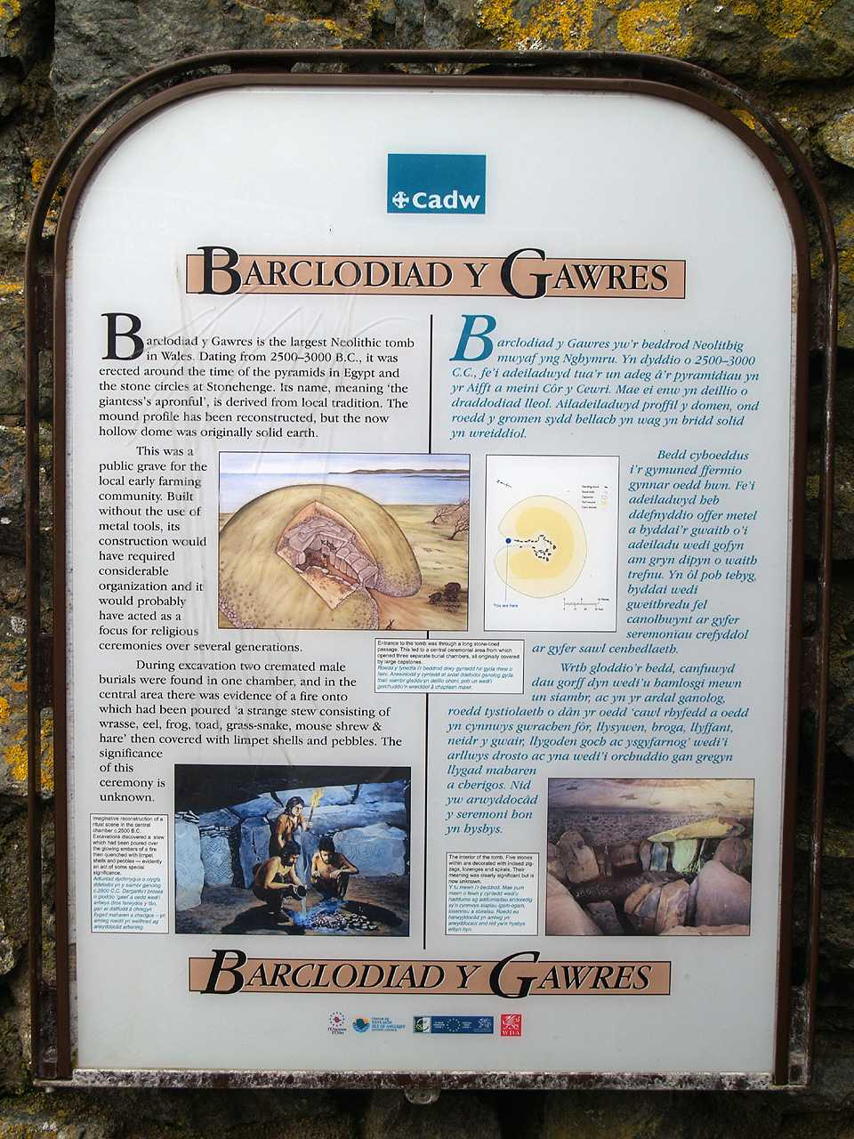 Anglesey, Llanfaelog, Barclodiad-y-Gawres Burial Chambers - CADW Information Sign