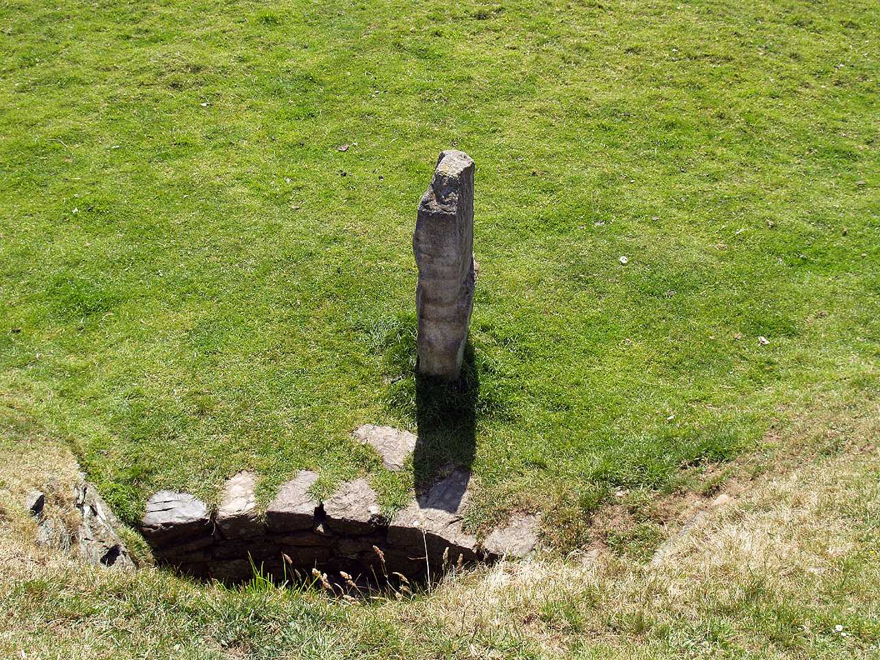 Anglesey, Llanddaniel, Bryn Celli Ddu, the engraved standing stone from the top of the mound