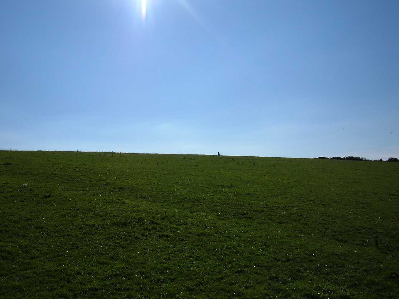 Anglesey, Llangaffo Standing Stone, view from the bottom of the field