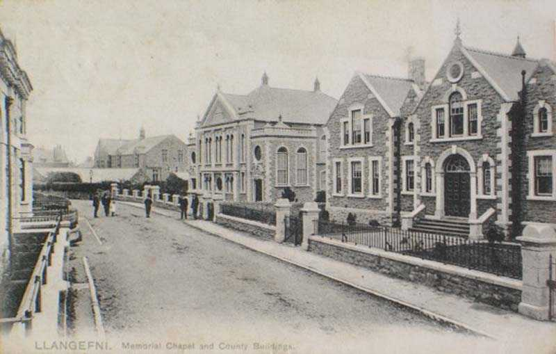 Llangefni, Memorial Chapel & County Buildings 1904 - notice the War Memorial is yet to be erected