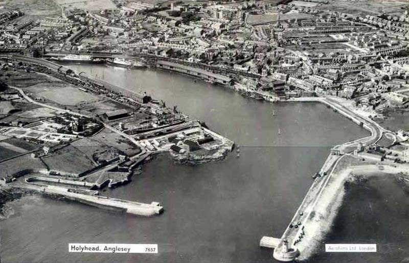 A view of Holyhead from the air - taken from a De Haviland aeroplane
