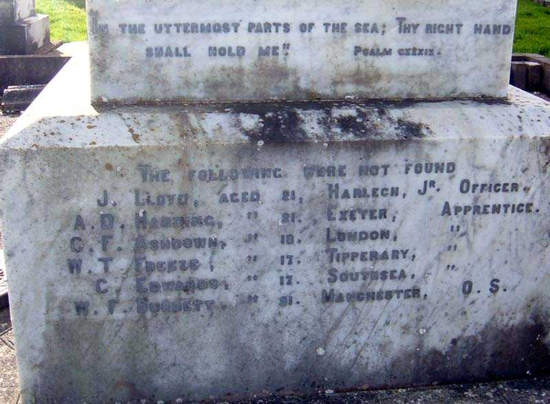 The names of those buried
